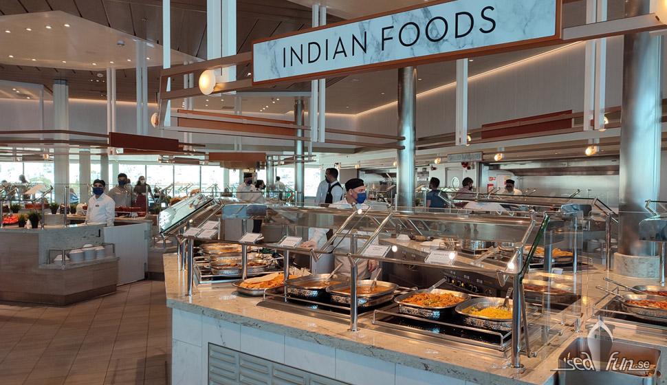Oceanview café är buffetrestaurangen ombord